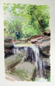 Janette Rozene, Ravine Waterfall in Central Park, Watercolor and gouache
