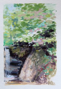 Janette Rozene, Waterfall in Central Park, Watercolor and gouache