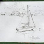 plein air sailboat drawing, pencil, Lillian Kennedy