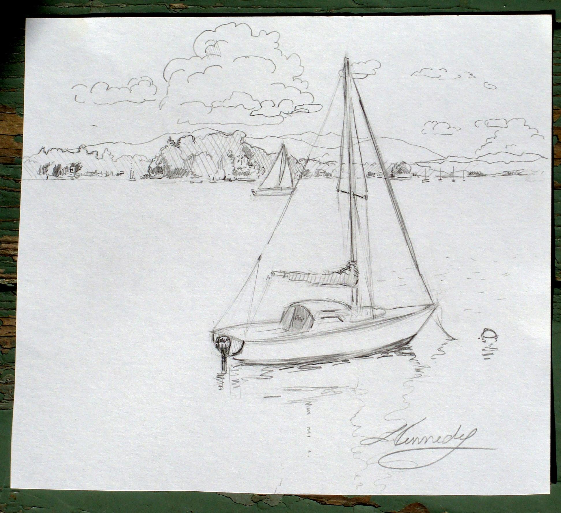 plein air sailboat drawing, pencil, Lillian Kennedy