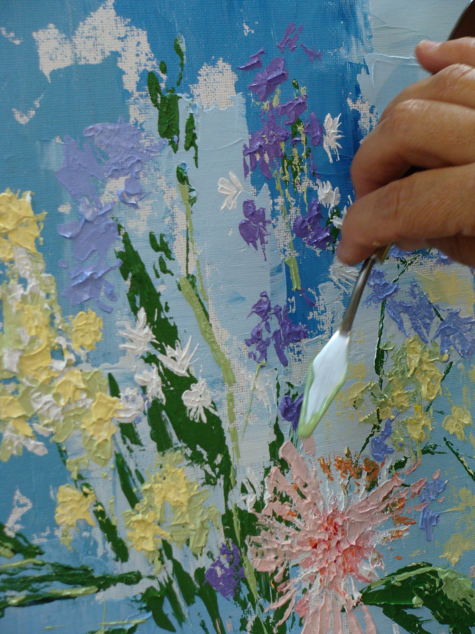 Tisha wood using a palette knife to paint in acrylics for Palette knife painting acrylic