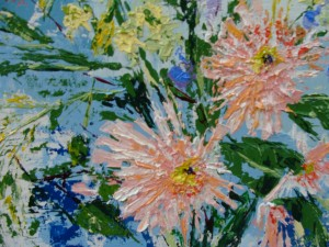 "detail of ""Je Me Souviens"" acrylic bouquet by Tisha Wood"