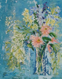 Je Me Souviens, acrylic floral bouquet, Tisha Wood, 20x16