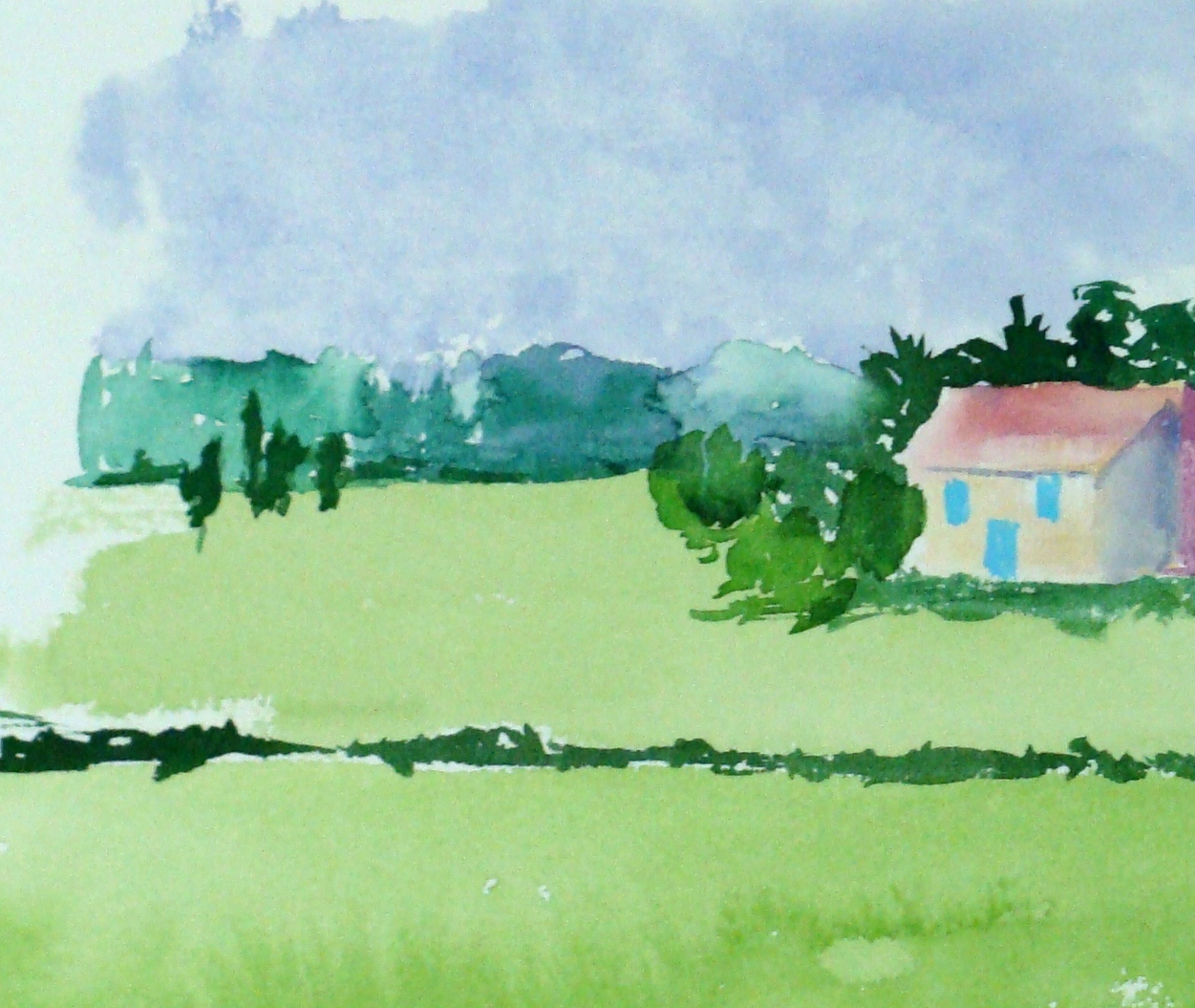Charlene Kellsey, small watercolor French landscape