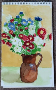 Charlene Kellsey, small watercolor flower bouquet,