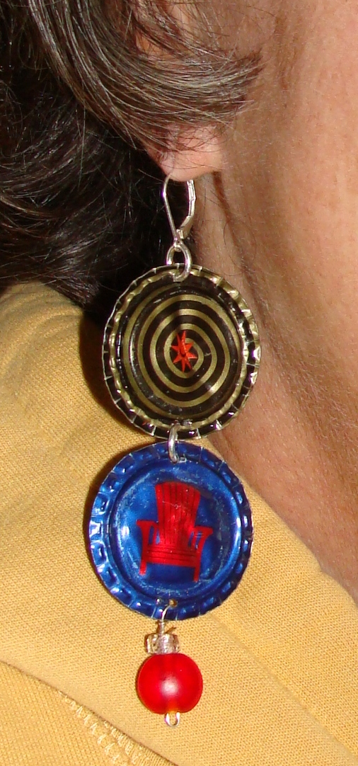 Beer bottle cap earrings, repurposed bottle caps, recylced jewelry