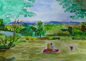 Dr Ruth kennedy Grant imagined her her grand daughter mid cart wheel and her son and daughter in law enjoying the view.