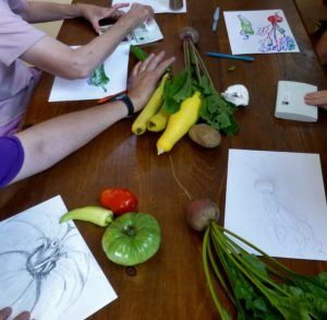 vegetable drawing at the KB Cafe